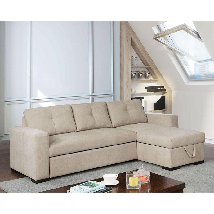 Furniture Of America Hakine Beige Chenille Finish Sectional Sofa