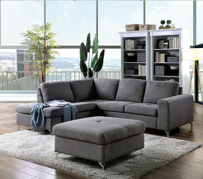 Furniture Of America Lizzie Gray Linen Finish Sectional Sofa With Ottoman