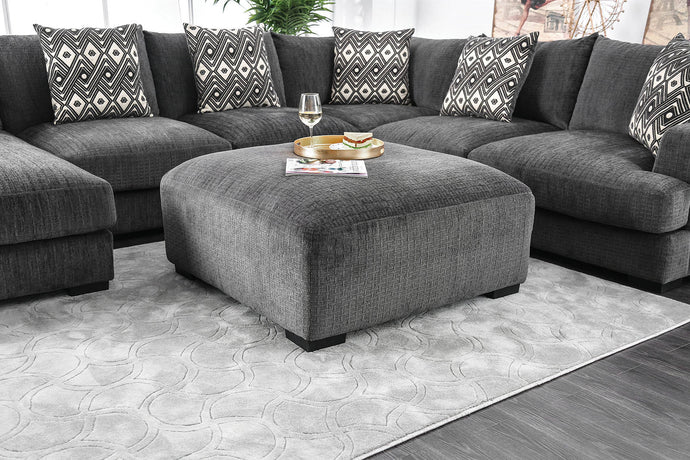 Furniture Of America Kaylee Gray Fabric Finish Ottoman