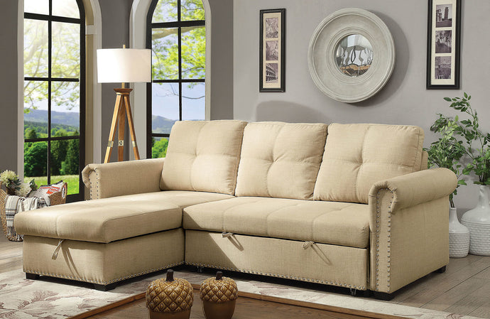 Furniture Of America Carter Beige Fabric Finish Sectional Sofa