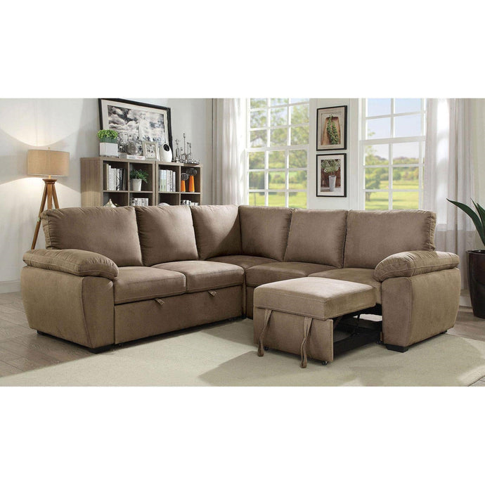 Furniture Of America Alka Light Brown Fabric Finish Sectional Sofa