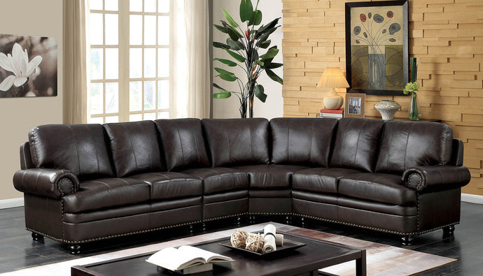 Furniture Of America Edith Dark Brown Leather Finish Sectional Sofa