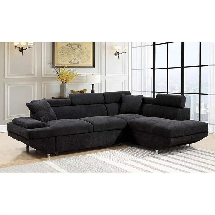 Furniture Of America Foreman Black Flannelette Finish Sectional Sofa