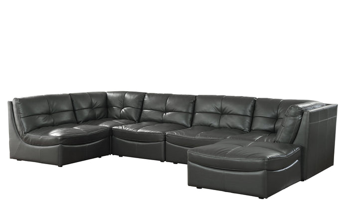 Furniture Of America Libbie Gray Gel Leather Finish Sectional Sofa