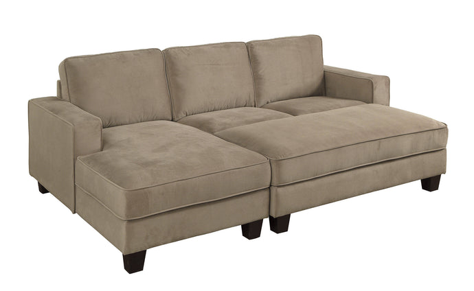 Furniture Of America Jancis Brown Flannelette Finish Sectional Sofa