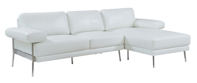 Furniture Of Americ Eilidh White Breathable Leatherette Finish Sectional Sofa