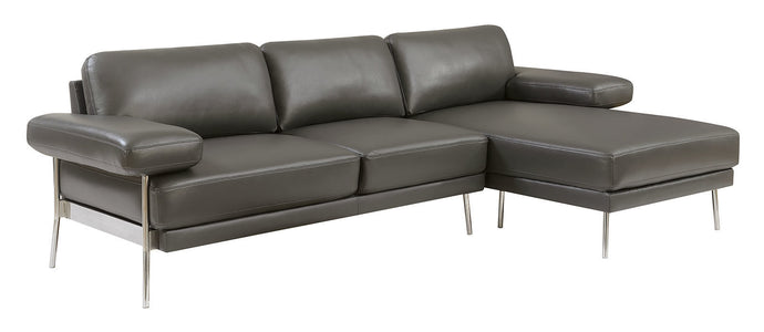 Furniture Of Americ Eilidh Gray Breathable Leatherette Finish Sectional Sofa
