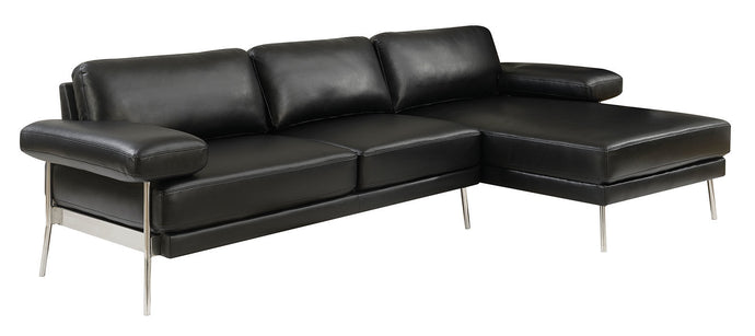 Furniture Of Americ Eilidh Black Breathable Leatherette Finish Sectional Sofa