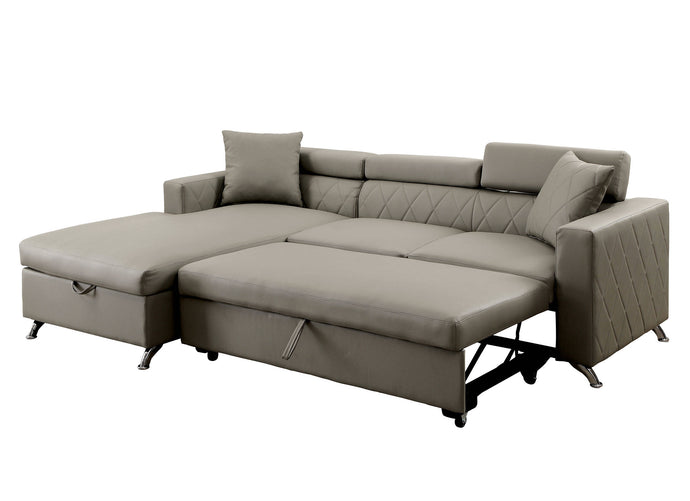 Furniture Of America Dayna Gray Leatherette Finish Sectional Sofa