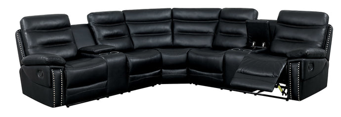 Furniture Of America Cavan Black Breathable Leatherette Finish Sectional Sofa