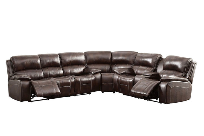 Furniture Of America Ruth Brown Grain Leather Finish Sectional Sofa