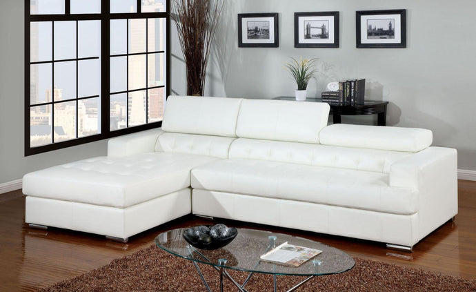 Furniture Of America Floria White Bonded Leather Finish Sectional Sofa