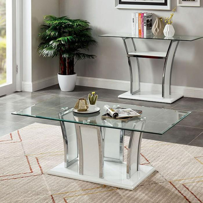 Furniture Of America Staten White Metal Finish Coffee Table
