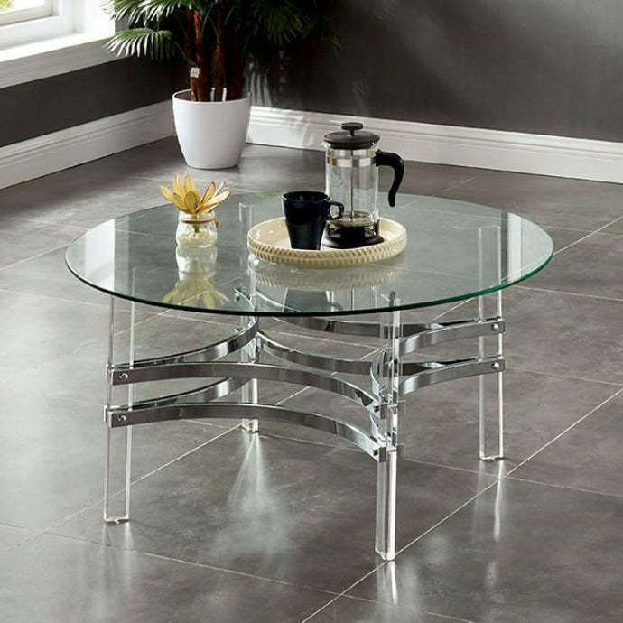 Furniture Of America Tirso Chrome Acrylic Finish Coffee Table
