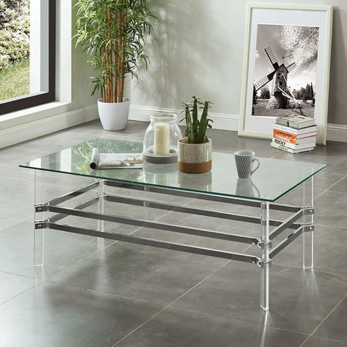 Furniture Of America Trofa Chrome Acrylic Finish Coffee Table