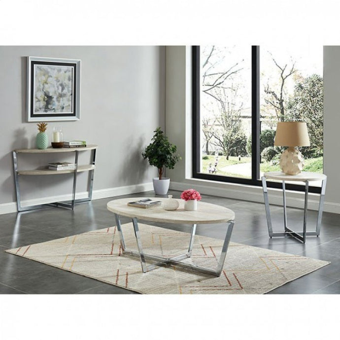 Furniture Of America Madisyn White Wood Finish 3 Piece Coffee Table Set