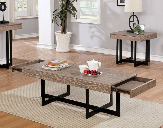 Furniture Of America Sawyer Gray Wood Finish 3 Piece Coffee Table Set