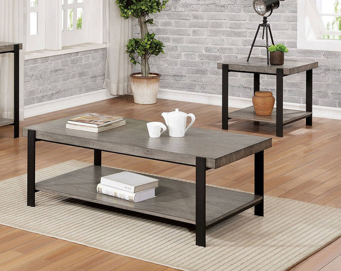 Furniture Of America Huckleberry Gray Metal Finish 3 Piece Coffee Table Set