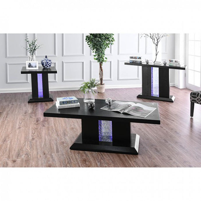 Furniture Of America Tobias Black Wood Finish 3 Piece Coffee Table Set