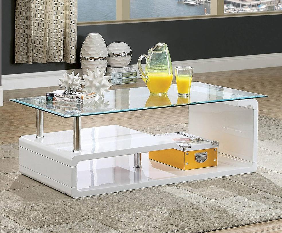 Furniture Of America Torkel White Glass Finish Coffee Table