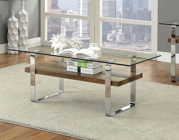 Furniture Of America Elpeth Dark Oak Metal Finish Coffee Table