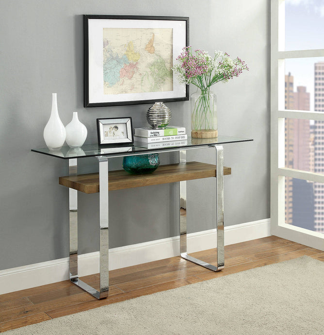 Furniture Of America Elpeth Dark Oak Metal Finish Sofa Table