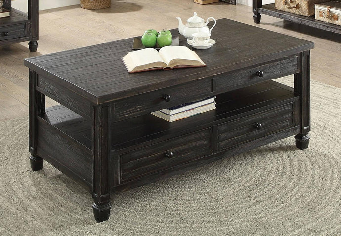 Furniture Of America Suzette Antique Black Wood Finish Coffee Table