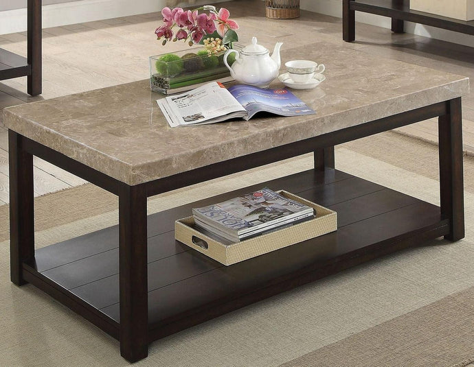 Furniture Of America Calgary Ivory Marble Top Finish Coffee Table