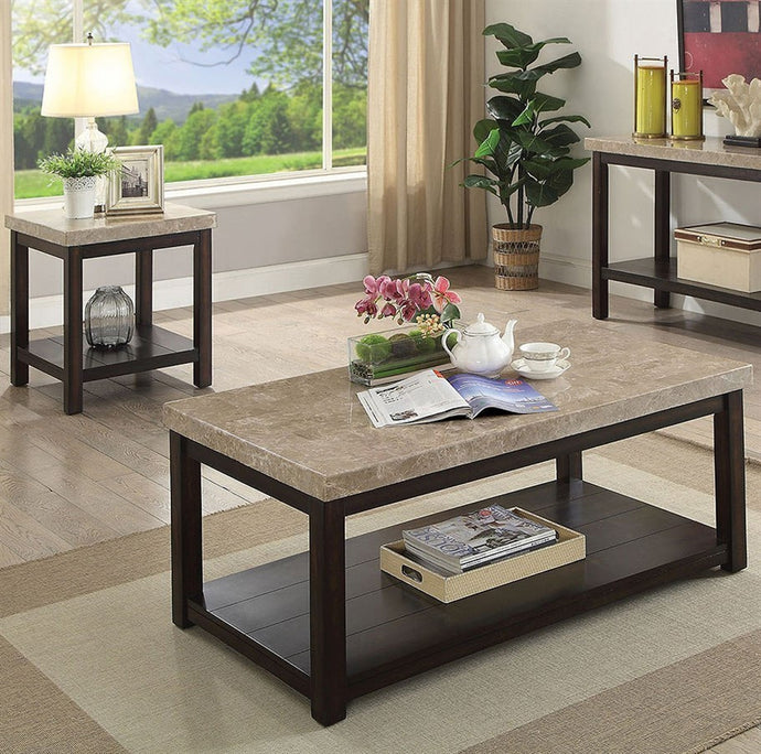 Furniture Of America Calgary Ivory Marble Top 3 Piece Coffee Table Set