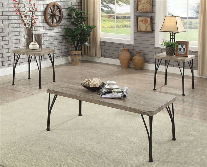 Furniture Of America Majorca Gray Wood And Metal Finish 3 Piece Coffee Table Set