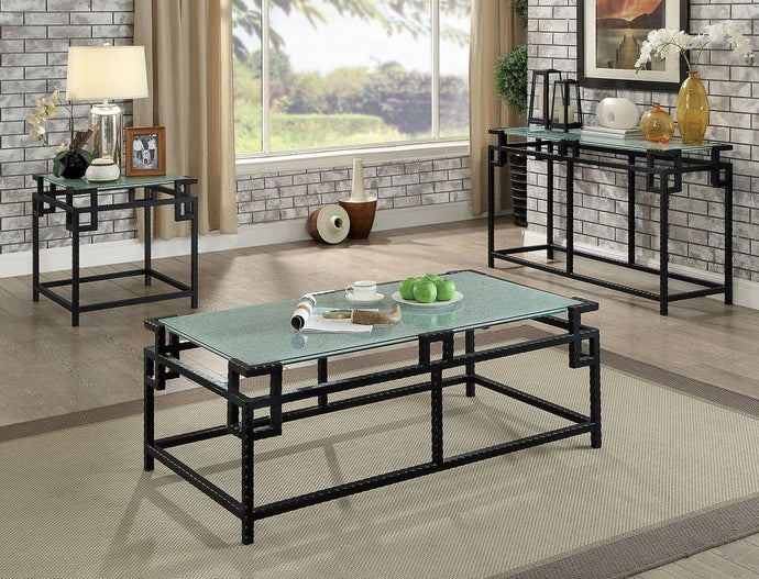 Furniture Of America Selene Black Metal Finish 3 Piece Coffee Table Set