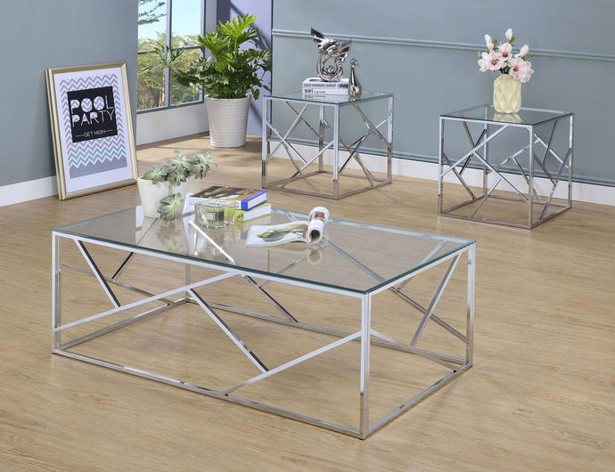Furniture Of America Pamplona Chrome Metal Finish 3 Piece Coffee Table Set