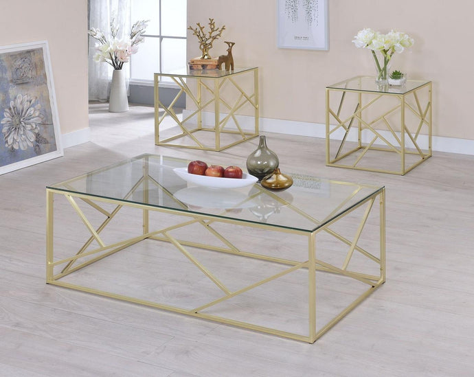 Furniture Of America Pamplona Champagne Metal Finish 3 Piece Coffee Table Set