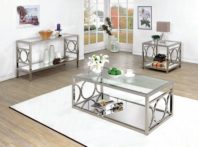 Furniture Of America Rylee Chrome Metal Finish 3 Piece Coffee Table Set