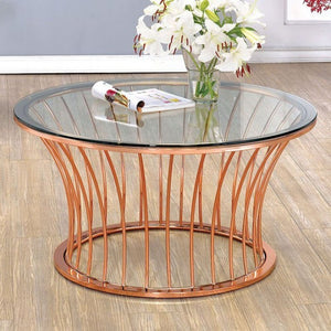 Furniture Of America Celise Rose Gold Metal Finish Coffee Table