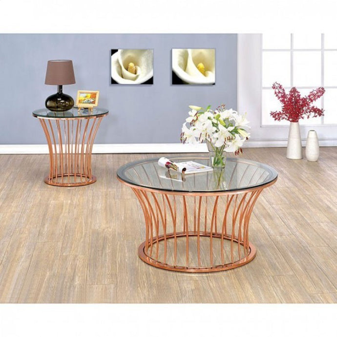 Furniture Of America Celise Rose Gold Metal Finish 3 Piece Coffee Table Set