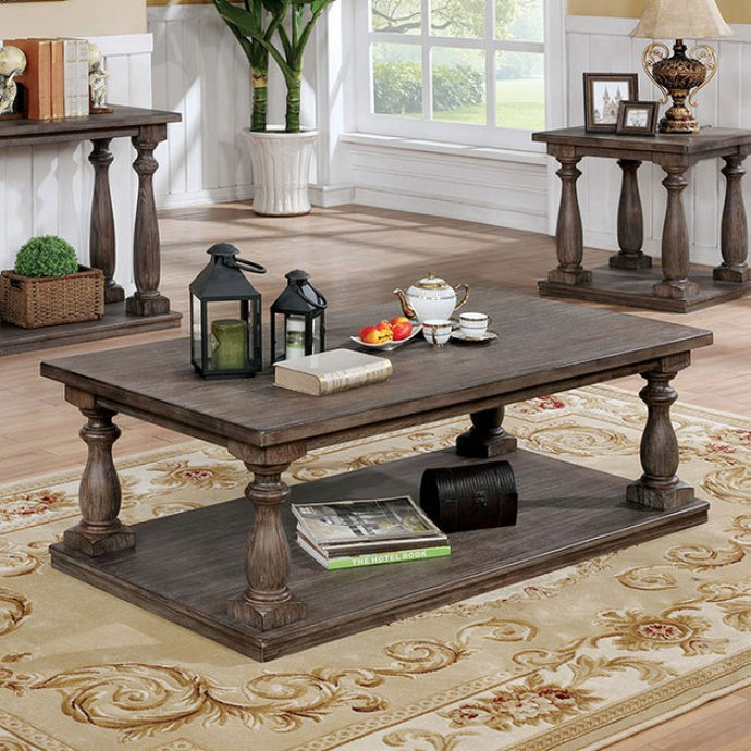 Furniture Of America Tammie Brown Wood Finish 3 Piece Coffee Table Set