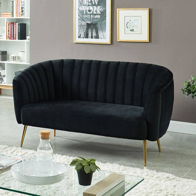Furniture Of America Dionne Black Flannelette Finish Loveseat