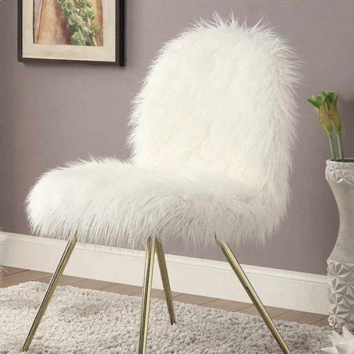 Furniture Of America Caoimhe White Faux Fur Finish Accent Chair