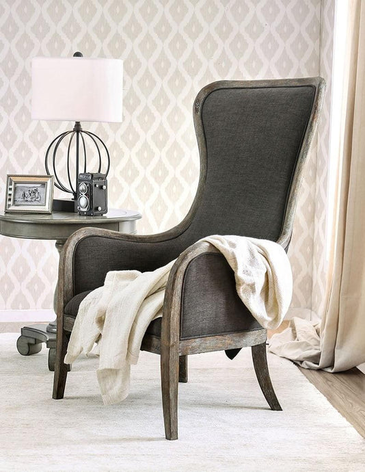Furniture Of America Charlottestown Gray Wood Finish Accent Chair