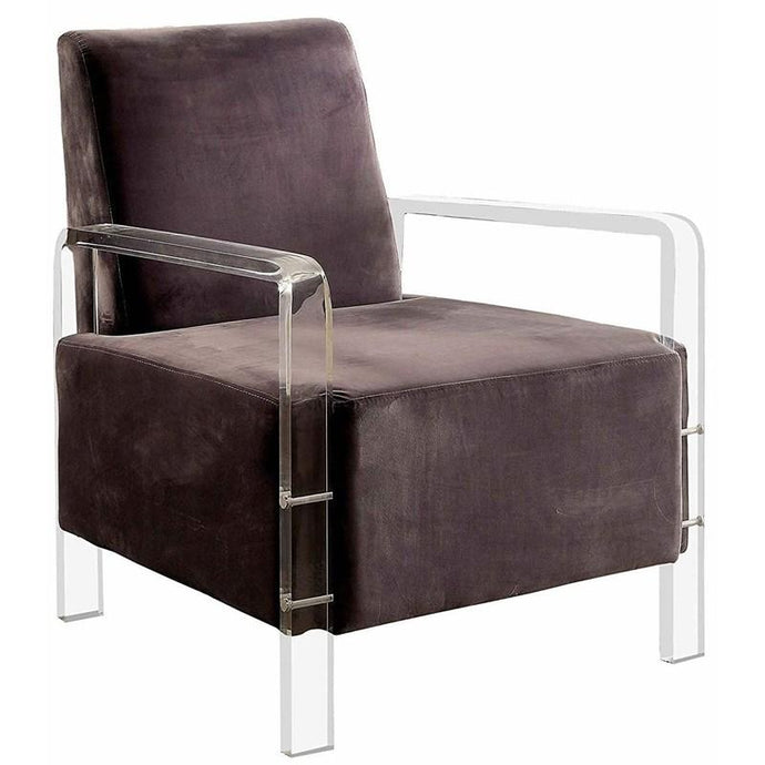 Furniture Of America Eloise Gray Acrylic And Fabric Finish Accent Chair