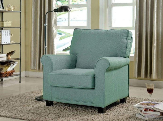 Furniture Of America Belem Blue Linen Finish Accent Chair