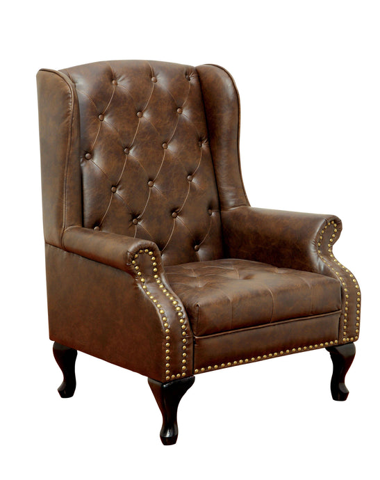 Furniture Of America Vaugh Brown Leatherette Finish Accemt Chair