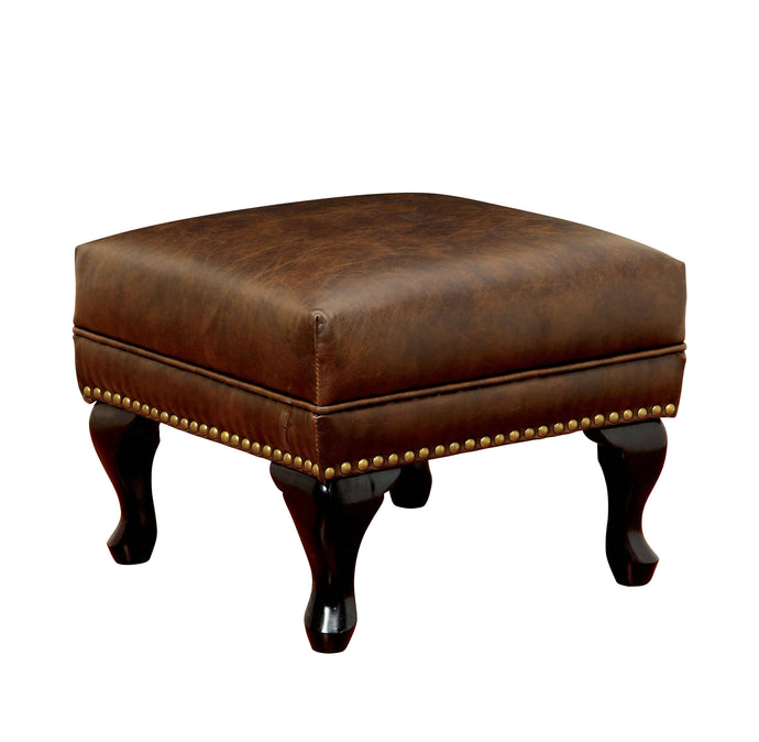 Furniture Of America Vaugh Brown Leatherette Finish Ottoman