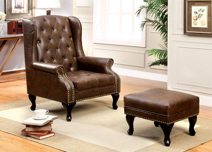 Furniture Of America Vaugh Brown Leatherette Finish Accemt Chair With Ottoman