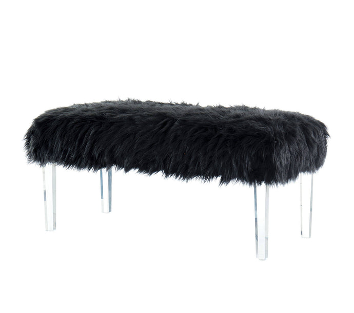 Furniture Of America Zyana Black Faux Fur Finish Bench