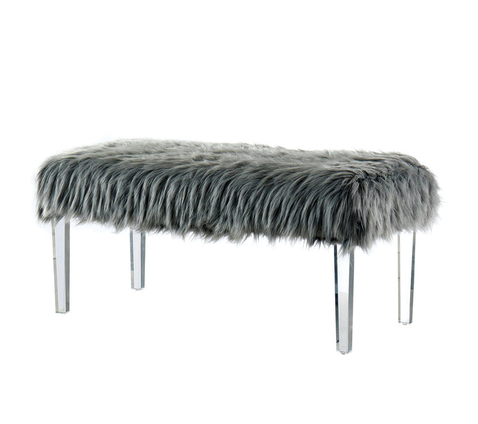 Furniture Of America Zyana Gray Faux Fur Finish Bench