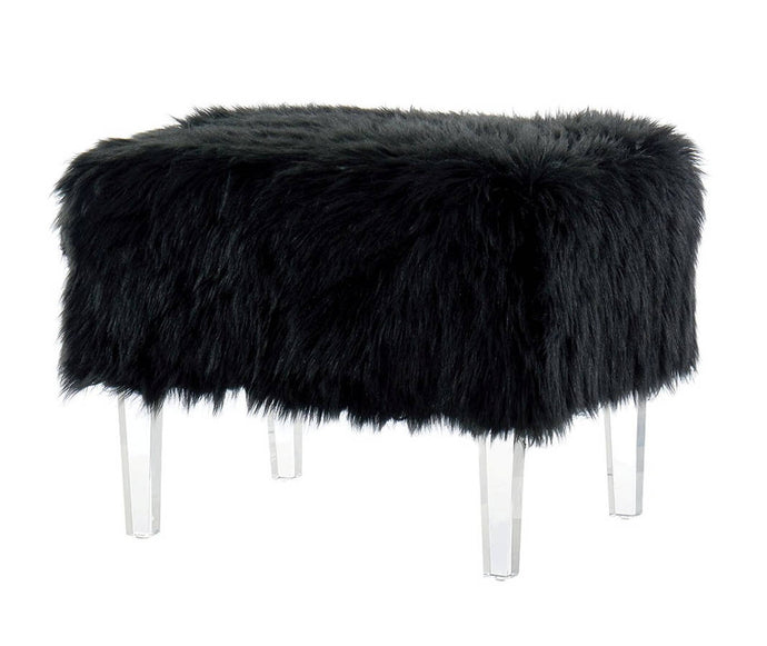 Furniture Of America Zalia Black Faux Fur Finish Bench