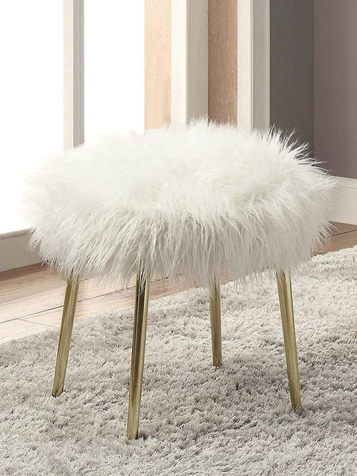 Furniture Of America Caoimhe White Faux Fur Finish Ottoman