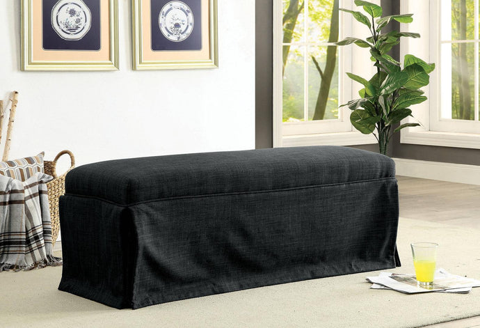 Furniture Of America Kortrijk III Black Linen Finish Bench